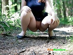 16 pictures - Chubby young busty squats down to tinkle a little