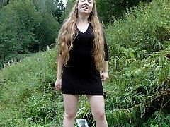 16 pictures - Dirty teen slut sits for a piss on a picnic table