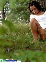 16 pictures - Dreamboat petite brunette wees on a forest glade