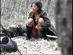 4 movies - Horny teen peeing in forest
