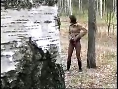 4 movies - Teen peeing near the forest road