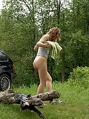 16 pictures - Rich slut stops her ride in woods to take a leak