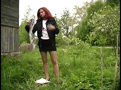 4 movies - Redhair girl pissing near the road
