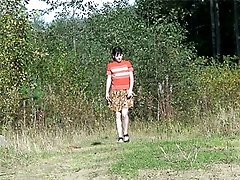 4 movies - Naughty girl launches a pee stream down the hill