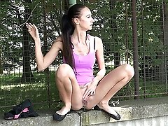 0  - Outdoor pissing off a wall for gorgeous girl
