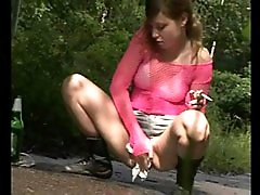4 movies - Little babe empties her bladder in a public park