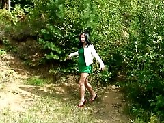4 movies - Girl on high heels gets busted pissing in forest