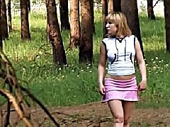 4 movies - Teen walking topless and pissing in the woods