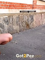 15 pictures - Brunette babe in her own public pissing video
