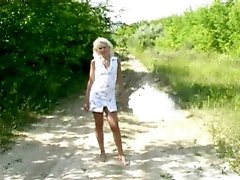 4 movies - Chubby blonde peeing outdoor